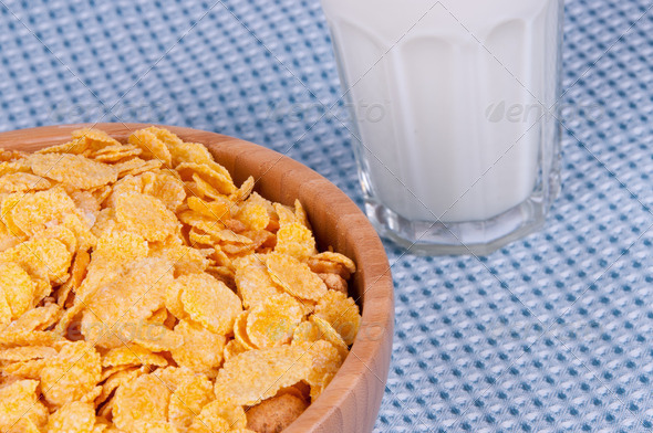 flakes and a glass of milk - Stock Photo - Images