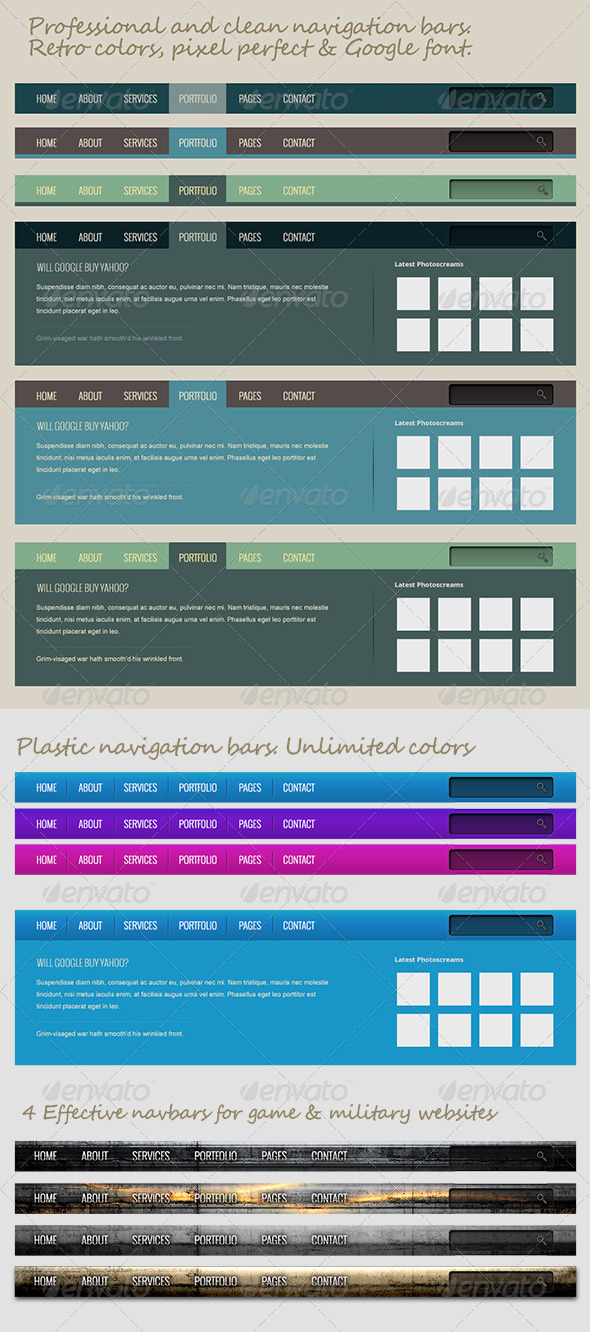 GraphicRiver Professional Navigation Bars 3229965
