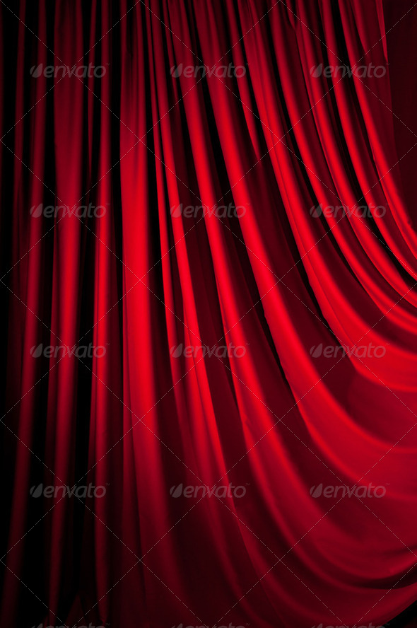 Brightly lit curtains for your background - Stock Photo - Images