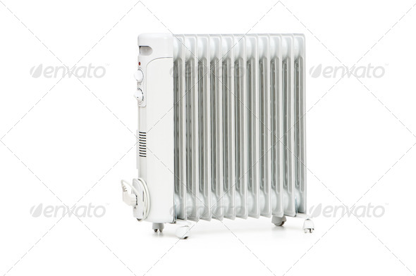 Oil radiator isolated on the white background - Stock Photo - Images