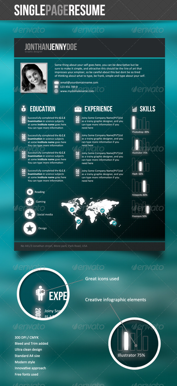 GraphicRiver Futuristic Style Single Page CV 3265573