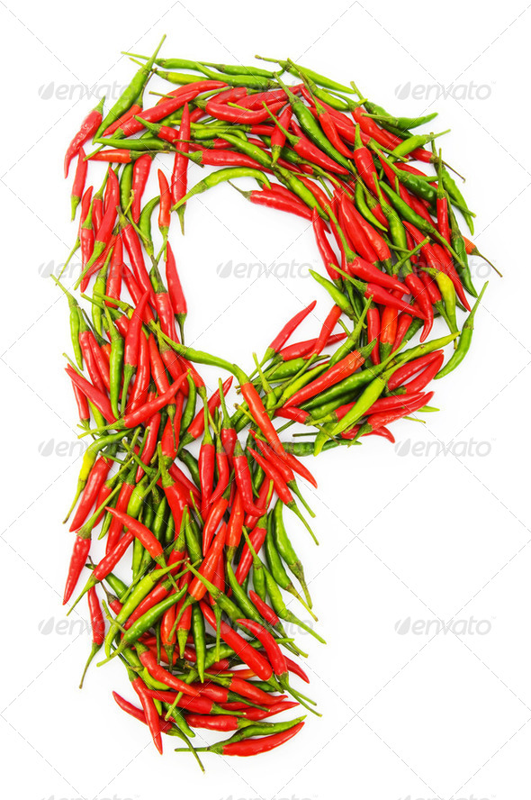 Alphabet with green and red peppers - letter - Stock Photo - Images