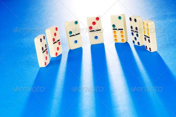 Domino effect with many pieces - Stock Photo - Images