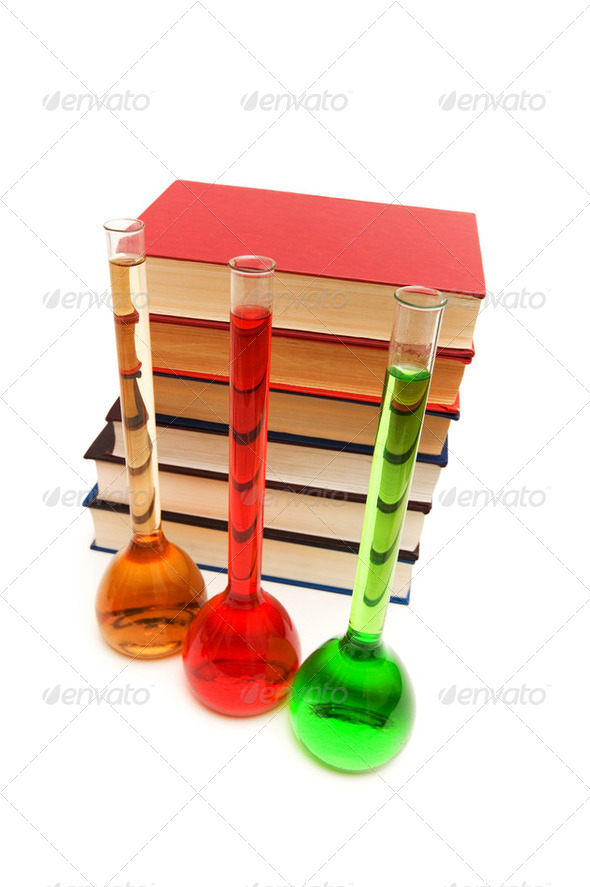 Chemistry concept with tubes and books on white - Stock Photo - Images