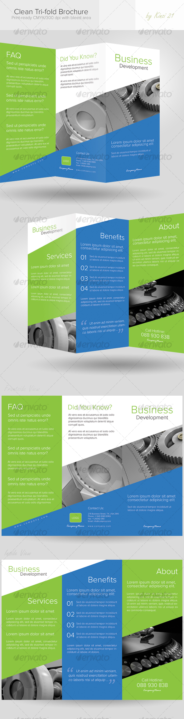 GraphicRiver Clean Tri-fold Brochure 115764