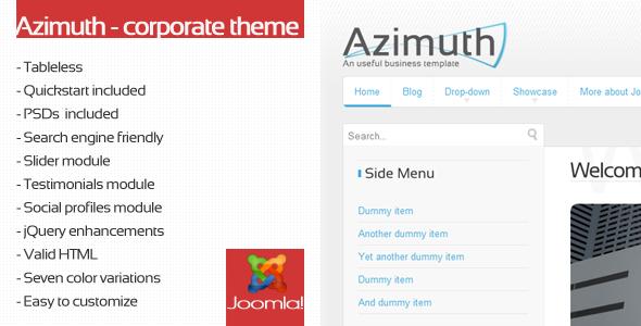 ThemeForest Azimuth Joomla corporate template 115270