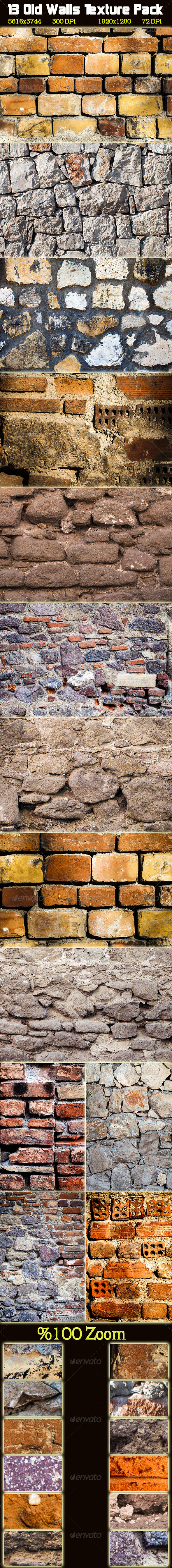 GraphicRiver 13 Old Wall Texture Pack 3282025
