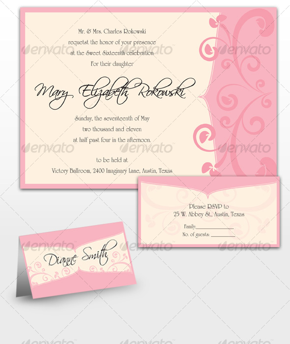 GraphicRiver Mary Sweet Sixteen Invitations 115796