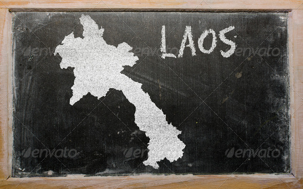 outline map of laos on blackboard - Stock Photo - Images