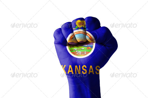 Fist painted in colors of us state of kansas flag - Stock Photo - Images