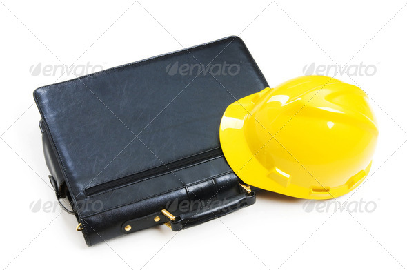 Construction concept - case and hard hat isolated on white - Stock Photo - Images