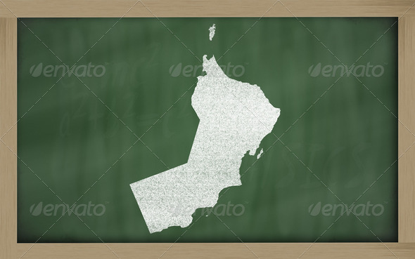 outline map of oman on blackboard - Stock Photo - Images