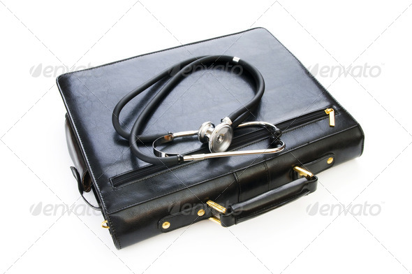 Case and stethoscope isolated on the white - Stock Photo - Images