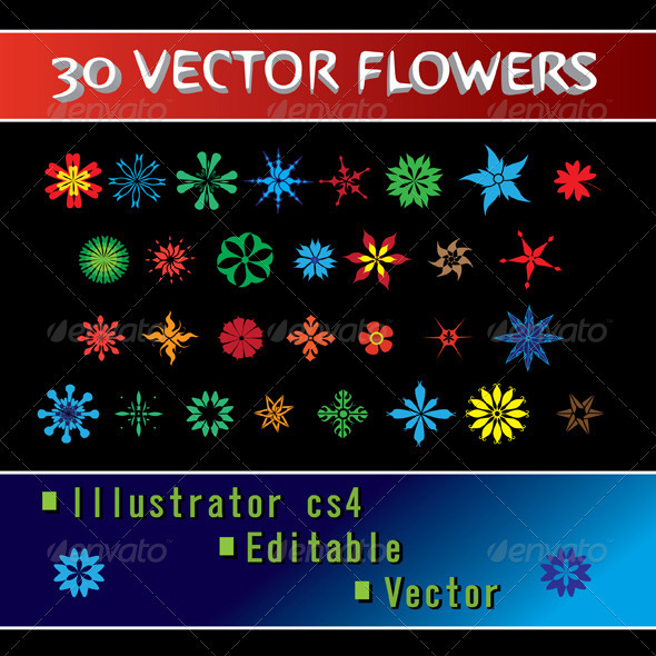 GraphicRiver 30 Vector Flowers 3278024