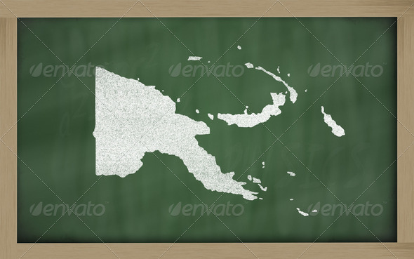outline map of papua new guinea on blackboard - Stock Photo - Images
