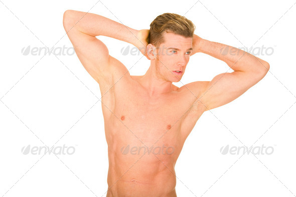 bare-chested man showing muscles - Stock Photo - Images