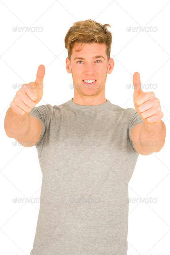 Young man with thumbs up - Stock Photo - Images