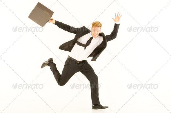 businessman with briefcase - Stock Photo - Images