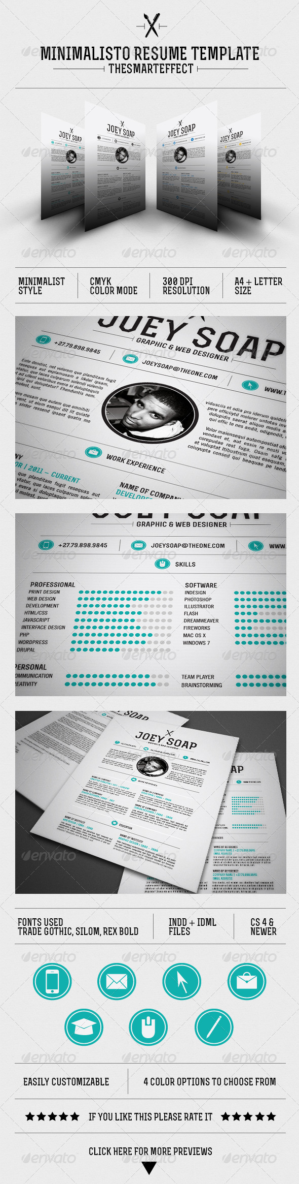 GraphicRiver Minimalisto Resume Template 3284004