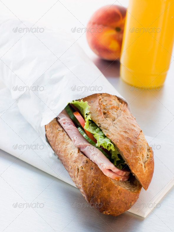 Ham And Salad Granary Baguette With Mango And Banana Smoothie An - Stock Photo - Images