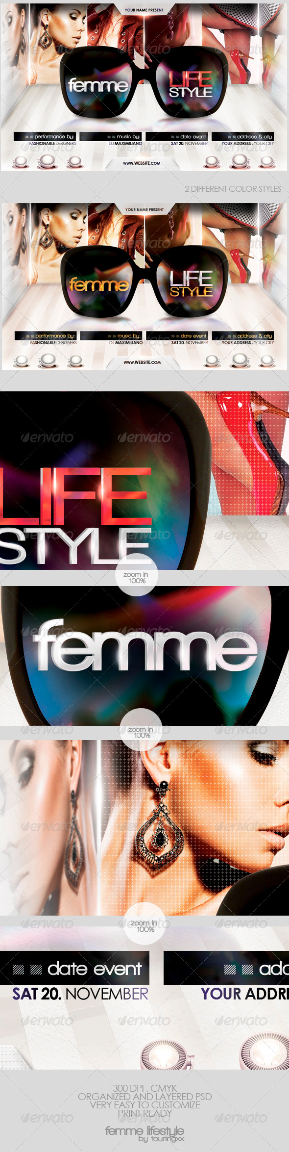 Femme Lifestyle Flyer Template - Clubs & Parties Events