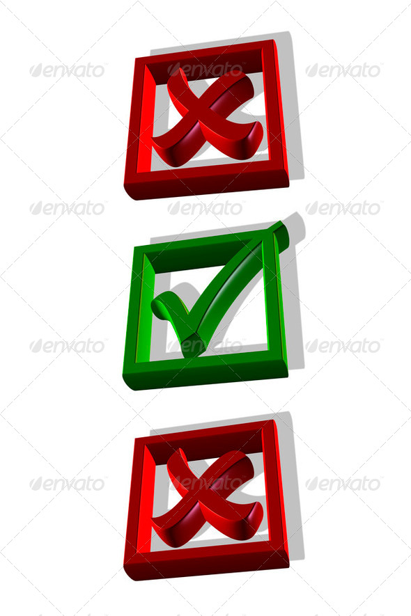 Checkmark in the box, 3D - Stock Photo - Images