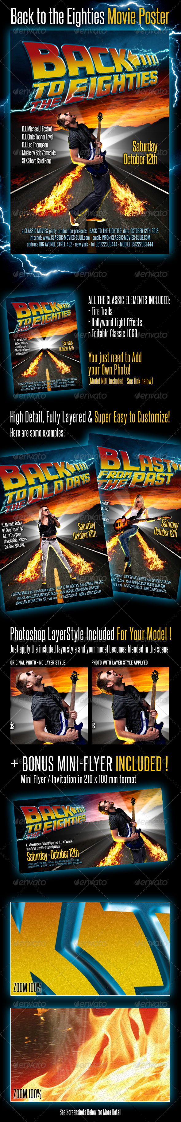 GraphicRiver Back To The Eighties Movie Poster 3173542