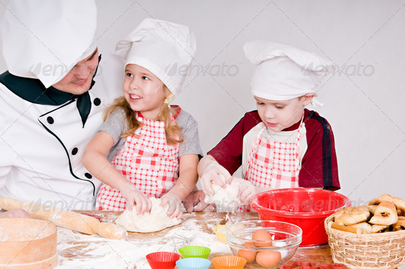 chef with children - Stock Photo - Images