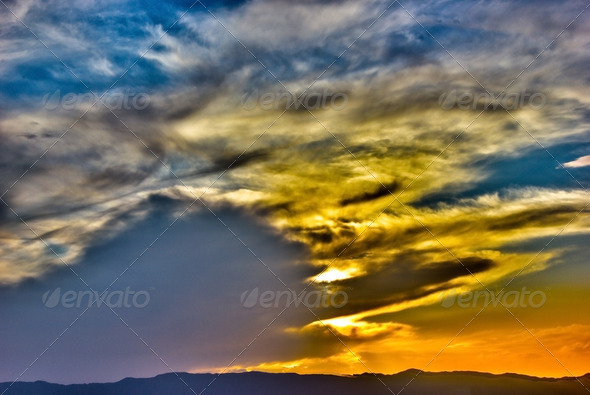 HDR Clouds Sunset - Stock Photo - Images