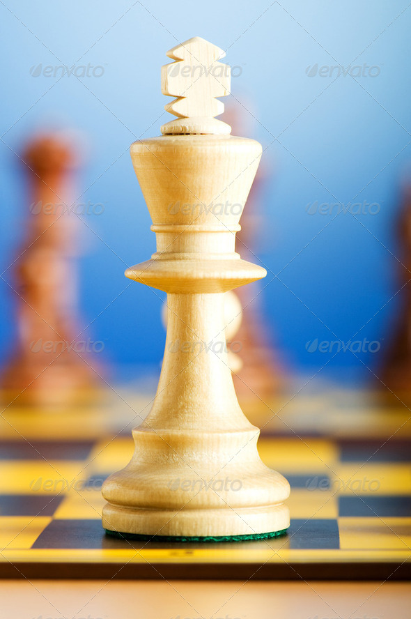 Set of chess figures on the playing board - Stock Photo - Images