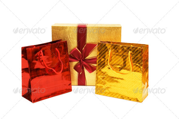 Bags and gift box isolated on the white - Stock Photo - Images