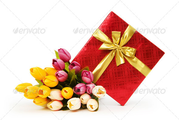 Giftbox and flowers isolated on the white background - Stock Photo - Images