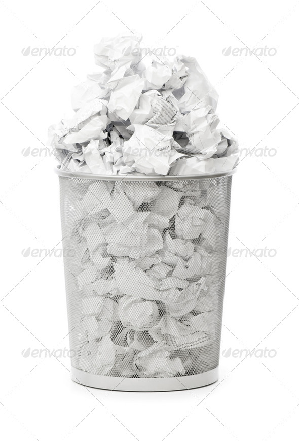 Garbage bin with paper waste isolated on white - Stock Photo - Images