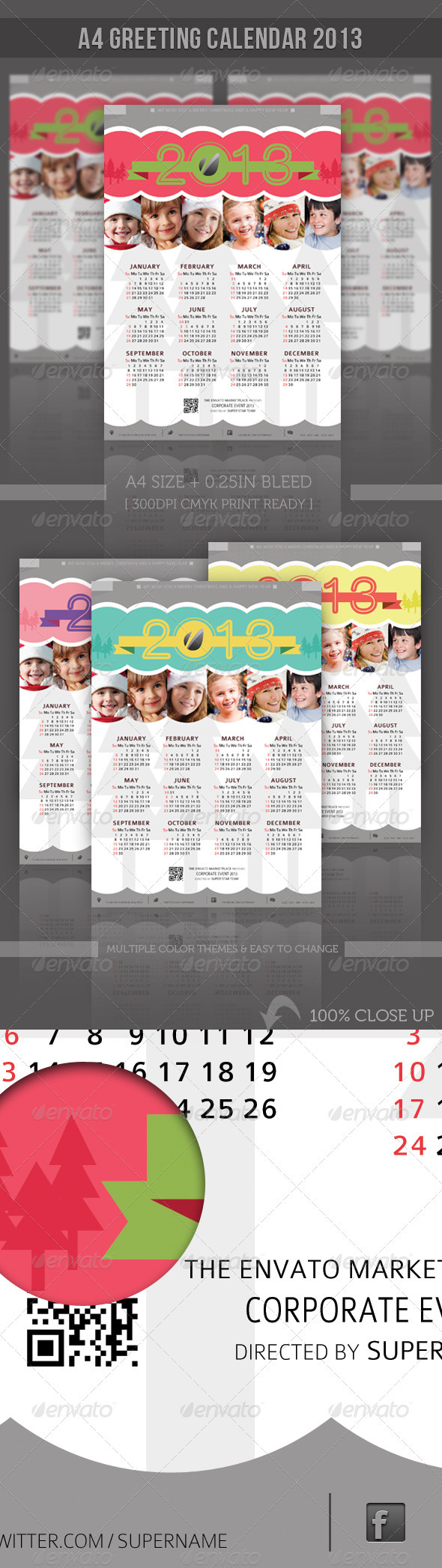 GraphicRiver Greeting A4 Calendar 3286925