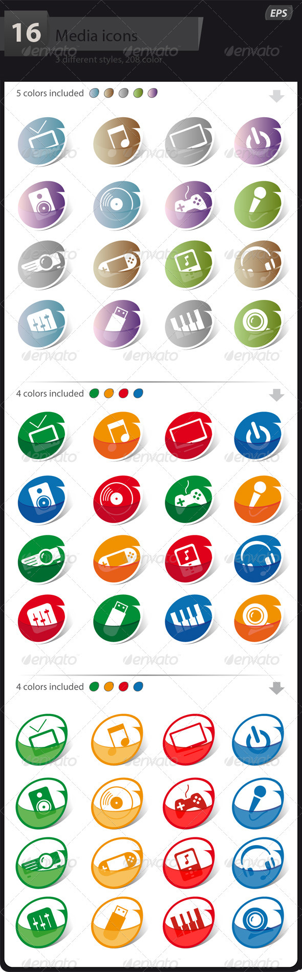GraphicRiver Icons Communication and Media 3284286