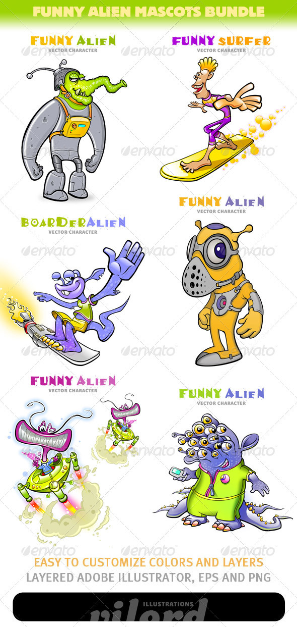 GraphicRiver Funny Alien Mascots Bundle 3287849