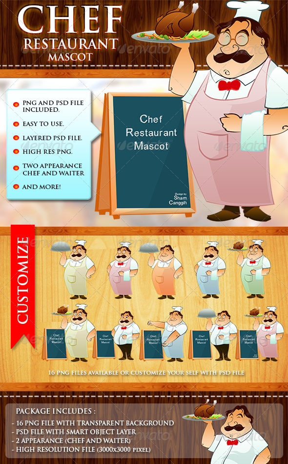 GraphicRiver Chef Restaurant Mascot 3287898