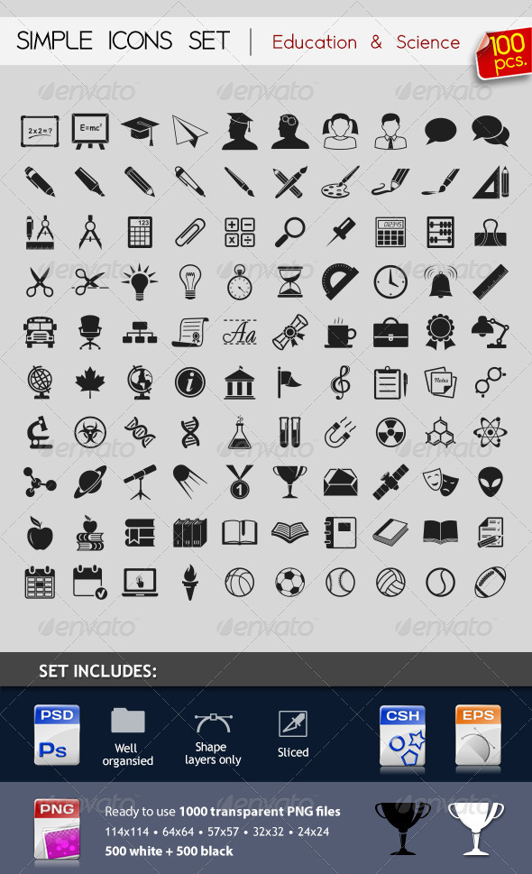 GraphicRiver 100 Simple Icons Education & Science 3288208