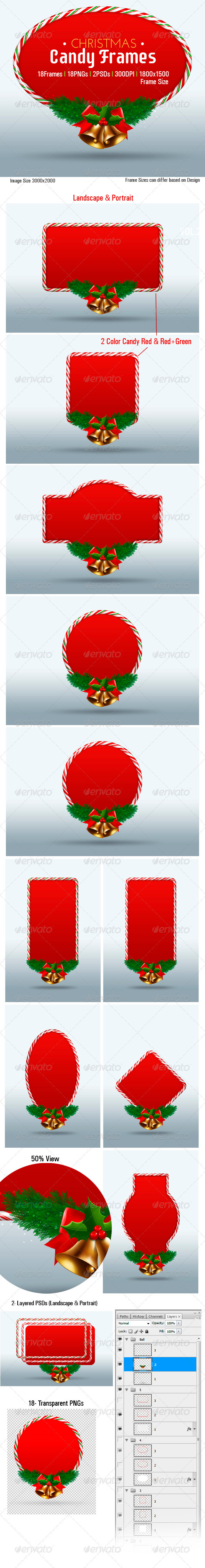 GraphicRiver Christmas Candy Frames 3290354