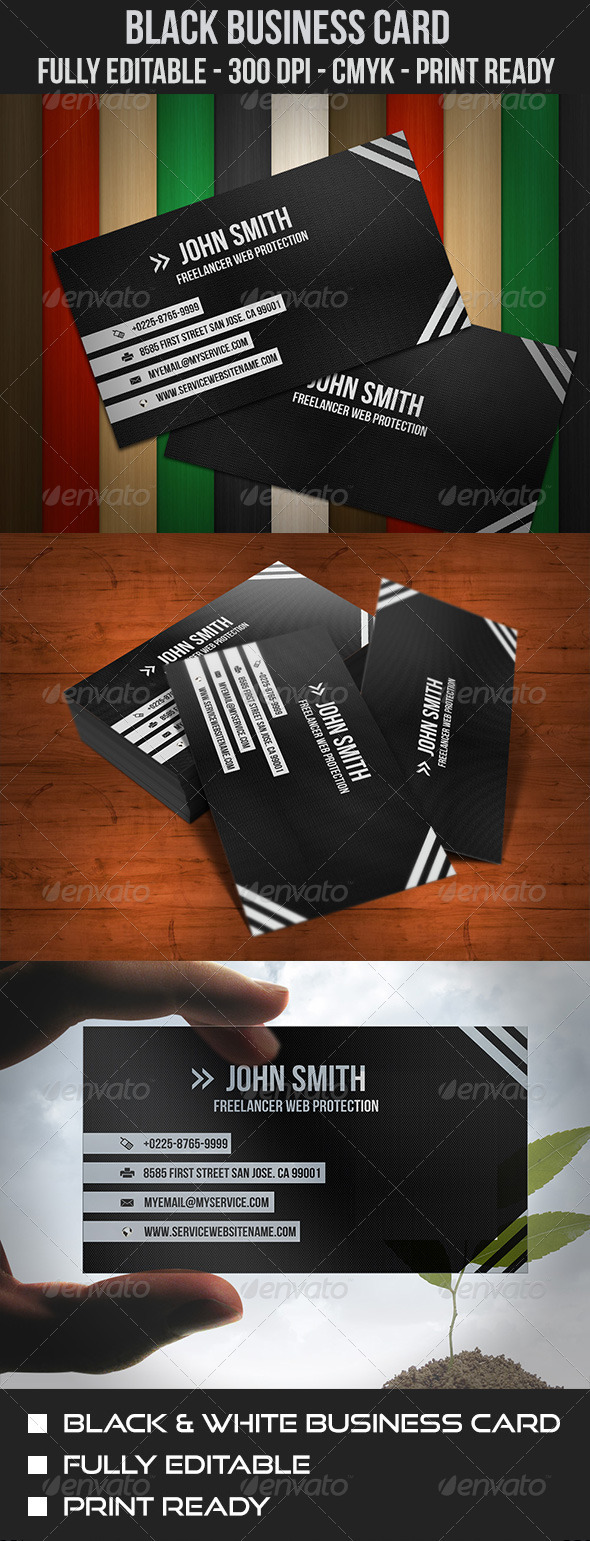 Elegant Black & White Business Card - Corporate Business Cards