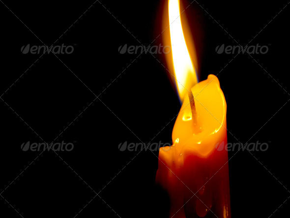 Candle in dark background - Stock Photo - Images