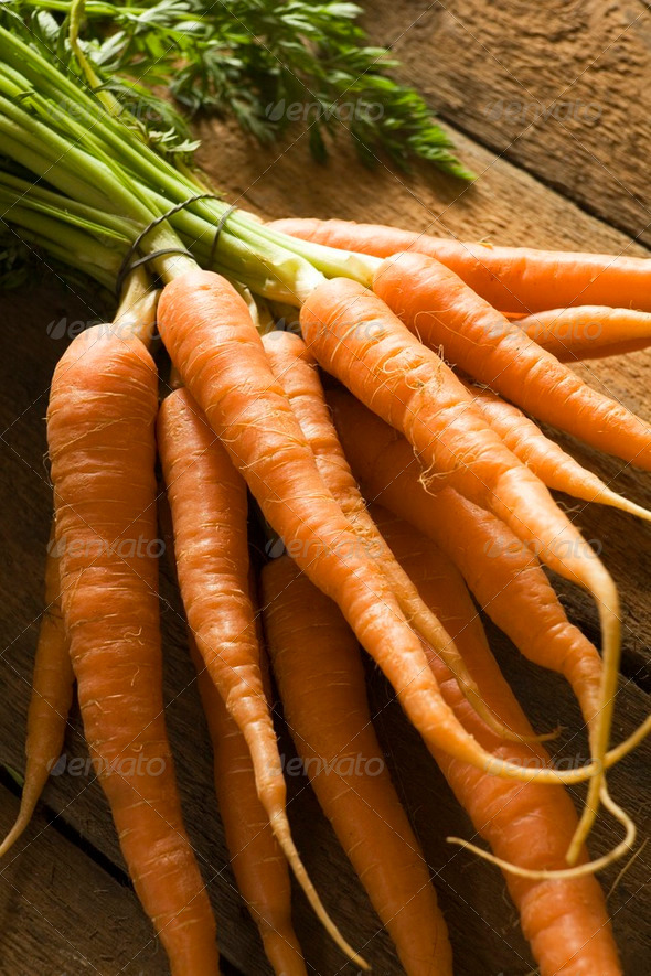 Fresh Carrots On Wooden Background - Stock Photo - Images