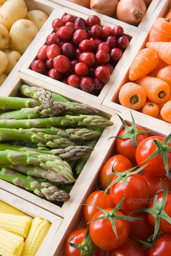 Selection Of Fresh Fruit And Vegetables - Stock Photo - Images