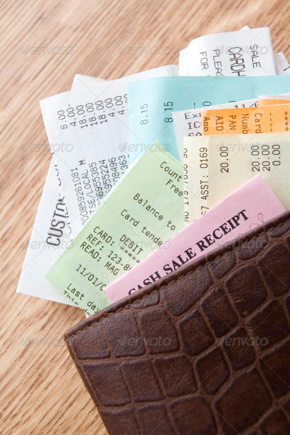 Leather Wallet Filled With Receipts - Stock Photo - Images