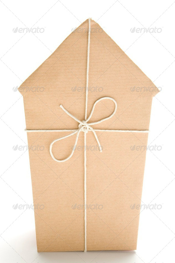 House Wrapped In Brown Paper - Stock Photo - Images