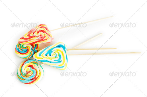 Colourful lollipop isolated on the white background - Stock Photo - Images