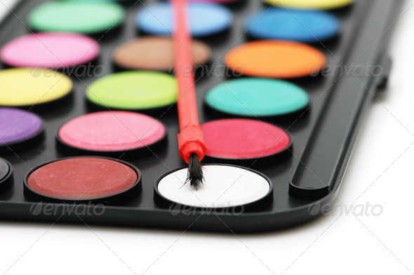 Painter's palette  isolated on the white  background - Stock Photo - Images