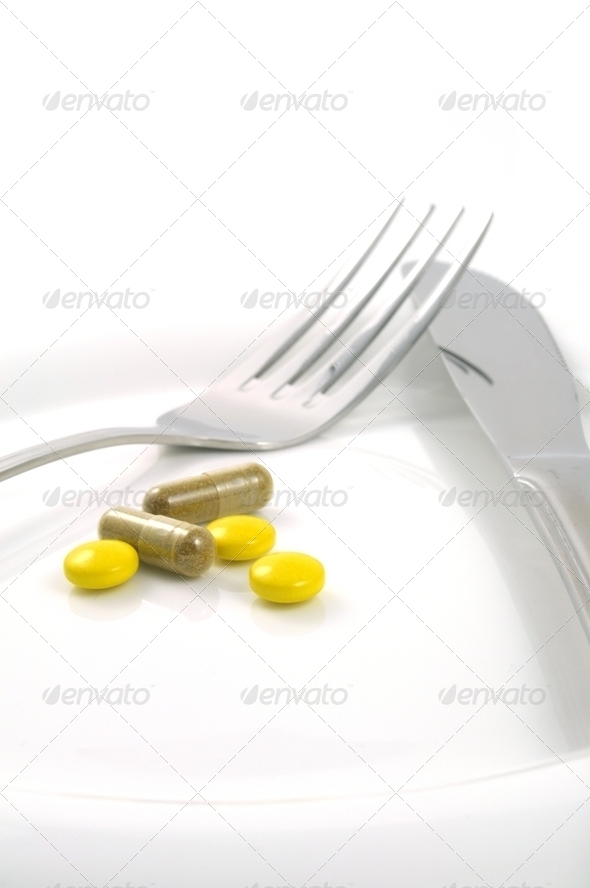 a meal of tablets - Stock Photo - Images