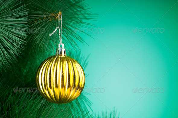 Christmas decoration on the tree - holiday concept - Stock Photo - Images