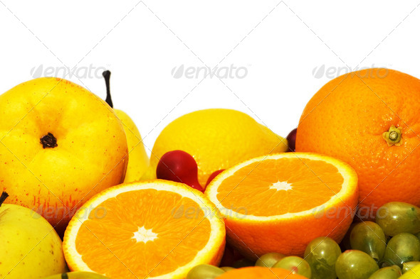 Variious fruits isolated on the white background - Stock Photo - Images